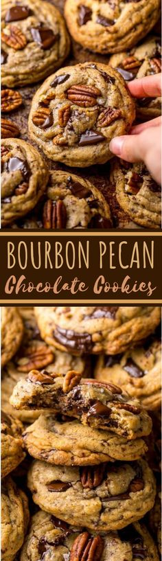 These Brown Butter Bourbon Pecan Chocolate Chunk Cookies are crunchy chewy and SO flavorful! You have to try these! These Brown Butter Bourbon Pecan Chocolate Chunk Cookies are crunchy chewy and SO flavorful! You have to try these! Baking Recipes, Cookie Recipes, Dessert Recipes, Cookie Desserts, Pecan Recipes, Cookie Favors, Chocolate Chunk Cookies, Chocolate Chips, Cake Chocolate