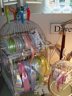 I wish I had enough space to store ribbon in a bird cage.