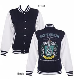 Women's Navy Harry Potter Slytherin Team Quidditch Varsity Jacket