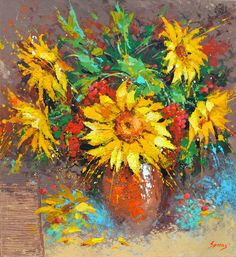 Sunflowers  Palette Knife Oil Painting on Canvas by by spirosart