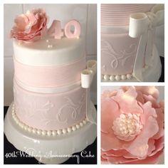40th Wedding Anniversary Fondant, stencilled, flower, pearls & bow Cake