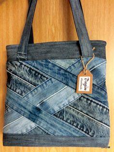 Provar de fer amb rl patró jasmine sling bag i reciclant texans