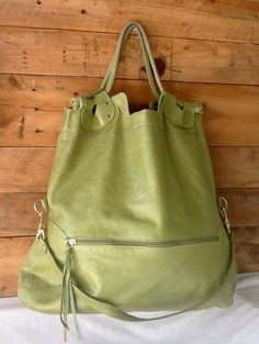 Pietro Alessandro Lime Green Glazed Leather Large Everyday Convertible Bag L@@K! #PietroAlessandro #ShoulderBag