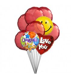If Congratulation will be accompained by Love & Smile then it would be rewarding ,so go ahead & sent it. 6 Mylar & 6 Latex Balloons deliver in this arrangment. 	Note :			For hospital deliveries Latex will be substituted by Mylar balloons.