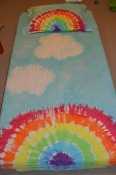 rainbow and cloud sheet set tie dyed...a different idea to do instead of another shirt!