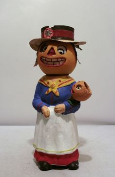 paper mache german candy containers | TOC German Paper Mache Jack O Lantern Candy Container Candle Stick ...