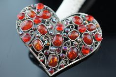 Brooch Vintage Heart filigree Pin Art Deco Jewelry Brooch silver  tone red stones cz  Modernist  treasure  a080 by VintageEstate86 on Etsy