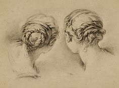François Boucher Two studies of girl's heads, seen from behind, Black chalk, 232 x 315 mm Trois Crayons, Amazing Drawings, Easy Drawings, Pencil Drawings, Figure Painting, Figure Drawing, Painting & Drawing, Rembrandt, Silverpoint