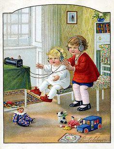Radios y niños en tarjetas y postales. (Wally Fialkowska, ilustradora). | La Galena del Sur