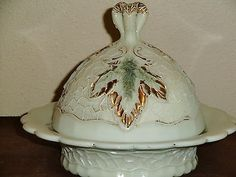 Northwood-Victorian-Custard-Glass-Maple-Leaf-Covered-Butter-Dish
