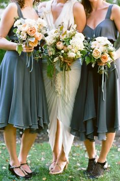 Bridesmaid bouquet - Love how they all match but aren't identical. Great colour scheme.