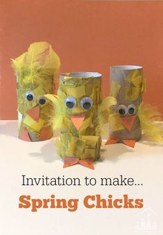 Our invitation to make Spring Chicks is an ideal Spring or Farm theme junk modelling activity for toddlers and preschoolers. Get saving up your cardboard tubes. gifts for toddlers Invitation to make a Spring Chick Craft - Crafty Kids at Home Farm Activities, Animal Activities, Spring Activities, Preschool Activities, Spring Preschool Theme, Preschool Farm Theme, Creative Activities For Children, Farm Animals Preschool, Preschool Weather