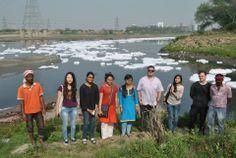 Jack, Josh and students at Okhla Barrage.  Look what Delhi does to Yamuna!!  #WeForYamuna #Campaign #Yamuna #India #Delhi #Students