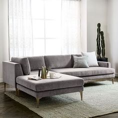 Andes 3-Piece Chaise Sectional   west elm in blue velvet, of course!