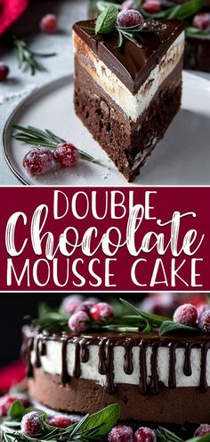 Your search for a holiday showstopper ends with this Double Chocolate Mousse Cake Fluffy chocolate cake topped with dark and white chocolate mousse ganache and a festive. Fluffy Chocolate Cake, Chocolate Mousse Cake Filling, Dark Chocolate Mousse, Beautiful Chocolate Cake, Chocolate Christmas Cake, Double Chocolate Cake, Chocolate Mouse Recipe, Chocolate Chocolate, Köstliche Desserts