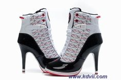 Discounts Women Red Black White Nike Dunk High Heels