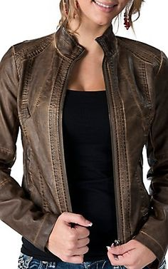 RD Style® Women's Weathered Brown Faux Leather Long Sleeve Jacket | Cavender's