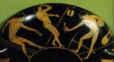Copa Ática decorada con Atletas. esta imagen se ve las manifestaciones de los atletas en Grecia lo que se pretendía representar era el equilibrio del cuerpo.