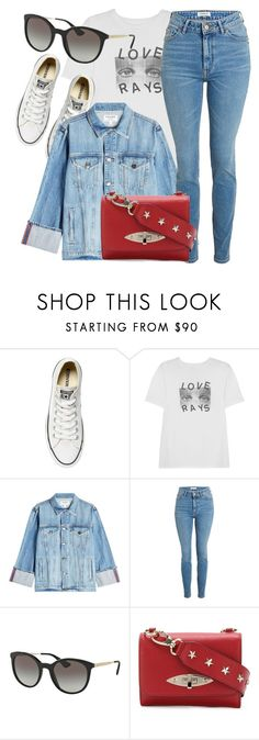"""""""Casual Day"""" by smartbuyglasses-uk ❤ liked on Polyvore featuring Converse, AlexaChung, Frame, Prada, RED Valentino, red, denim and Blue"""