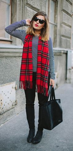 bright red plaid + red lip