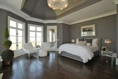 glamorous in grey is right.love this bedroom. add a few black and yellow accents.perfection.