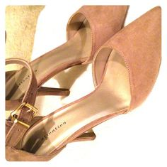 NWOT Tan suede heels Beatiful stiletto heels with buckle and zip.  Never worn Attention Shoes Heels