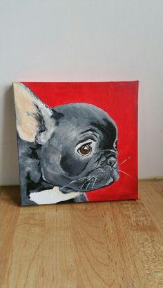 15x15 cm Acrylic painting French bulldog