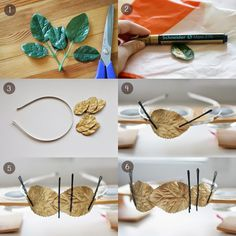 Pearls & Scissors: DIY Gold leaf headband I think I'm going to make a laurel or flower crown DIY with this! I love the clever use of the gold permanent marker (paint?) pen. :D