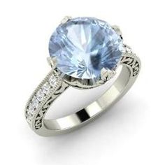 Marion, Round Aquamarine Ring in 14k White Gold with SI Diamond
