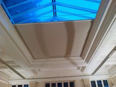 Zip blinds - are a wire-free option for shading roof windows, roof lanterns, skylights, conservatories, and Orangeries. Premier Blinds & Awnings use their own installation team. Skylight Shade, Skylight Blinds, Skylight Window, Roof Window, Skylights, Conservatory Roof Blinds, Orangery Roof, Diy Blinds, Curtains With Blinds