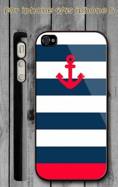 Anchor Blue White Red Stripe - iPhone 4/4s Case and iPhone 5 Case by EkoShop for $11.99 very my style