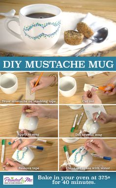 We must ask you a question...do you want to DIY your own personalized mug?  Try out this cool pointillism design that we created using a PaintedbyMe  mug, paint markers, and a stencil we made from masking tape.