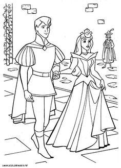 Aurora & Prince Phillip. Sleeping Beauty. Disney Coloring Page