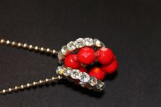 Long silver necklace with red and rhinestones. by mizzx on Etsy