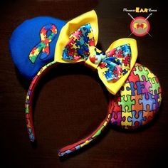 Autism Awareness Mickey Ear Headband with Embroidered Puzzle Piece Ribbon by MouseketEarBands on Etsy https://www.etsy.com/listing/270866868/autism-awareness-mickey-ear-headband