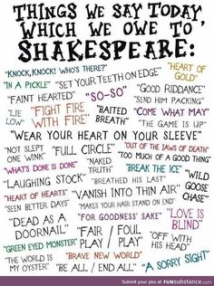 William Shakespeare's Influence on Our Language Today = Teaching Writing, Writing Skills, Teaching English, Writing Tips, Writing Prompts, The Words, Words Quotes, Me Quotes, Sayings