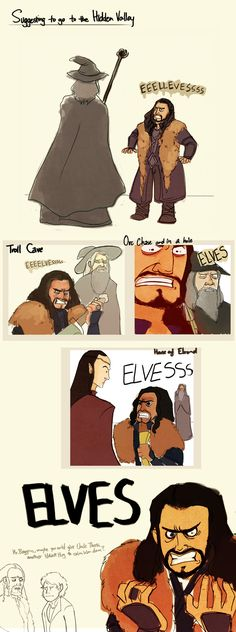 [Thorin doesn't like elves....] Also, I want a Hobbit Hug from Bilbo!