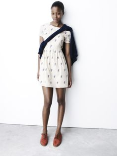 Madewell. I love the suede oxfords and spring dress combination