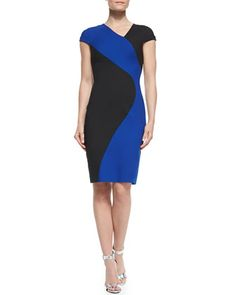 Colby+Colorblocked+Sheath+Dress+by+Black+Halo+at+Neiman+Marcus.