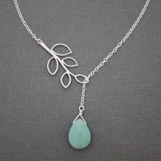 five leaf branch with amazonite drop necklace, gift, sterling silver, chic, casual, modern. $22.00, via Etsy.