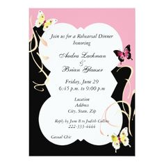 Butterfly Rehearsal Dinner Cards Chic Butterfly Wedding Rehearsal Invitation