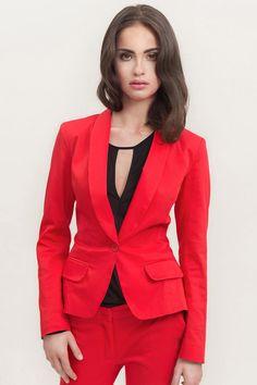 Din colectia eleganta a brand-ului de lux Misebla. Dyt Type 4 Clothes, Blazers, Textiles, Red Blazer, Lingerie, Saturated Color, New Look, Fashion Brands, Dressing