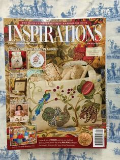 Inspirations Magazine: The World& most beautiful Embroidery Issue 62 Inspirations Magazine, Book Crafts, Rug Making, Baby Items, Picnic Blanket, Needlework, Teddy Bear, Embroidery, Pretty