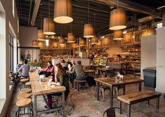 Restaurante bar, bakery shop interior, bakery shop design, cafe interior, c Cafe Restaurant, Bakery Cafe, Rustic Bakery, Bakery Shops, Rustic Kitchen, Modern Bakery, Rustic Cafe, Modern Restaurant, Rustic Coffee Shop