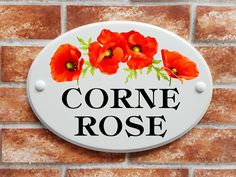 Ceramic style house sign with poppies motif House Names, House Signs, Print Pictures, Poppies, Decorative Plates, Printed, Rose, Home Decor, Style