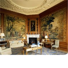 The tapestry room at Belton House, originally the little parlour or family dining room. The room was remodelled circa 1890 in a 17th century style. The tapestries are early 18th century from the Mortlake factory and depict scenes from the story of Diogenes