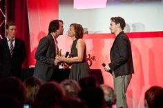 Jerôme Bonnell receiving his Golden Swann for Best Movie from Kristin Scott Thomas and Jonathan Rhys Meyers.