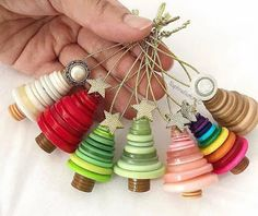 Your place to buy and sell all things handmade - Christmas Crafts - Weihnachten Christmas Crafts For Kids, Diy Christmas Ornaments, Diy Christmas Gifts, Winter Christmas, Button Ornaments Diy, Christmas Button Crafts, Diy Christmas Tree Decorations, Homemade Christmas Ornaments, Vintage Christmas Crafts