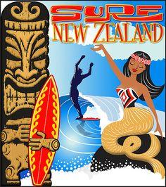 """Surf New Zealand"" mermaid art by Terry Fitzgibbon"