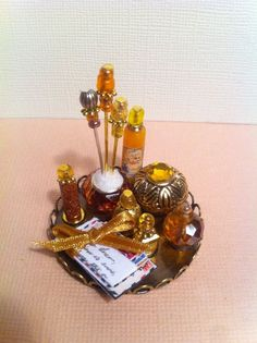 Dollhouse Miniature Amber Vanity Perfume Tray with love letters by Piera  #PieraArt